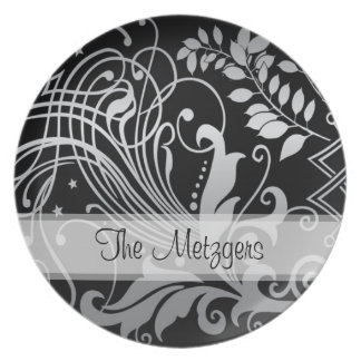 Customizable Magical Black Demask Lace Dinner Plate