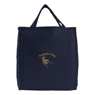 Customizable Magnolia Warbler Embroidered Tote Bag