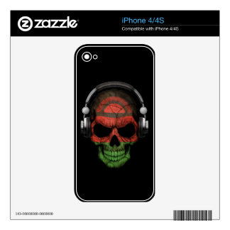 Customizable Malawi Dj Skull with Headphones Skin For The iPhone 4