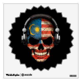 Customizable Malaysian Dj Skull with Headphones Wall Decal