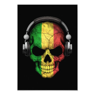 Customizable Mali Dj Skull with Headphones Card