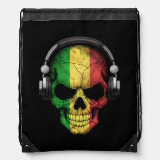 Customizable Mali Dj Skull with Headphones Drawstring Bag