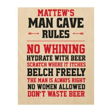 Customizable Man Cave Rules Wood Wall Art