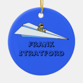 Customizable Man Flying Paper Airplane Christmas Ornaments