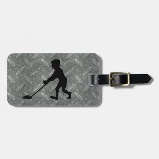 Customizable Man Metal Detecting Diamond Plate Tag For Luggage