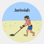 Customizable Man Metal Detecting On Beach Classic Round Sticker