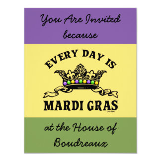 Customizable Mardi Gras 4.25x5.5 Paper Invitation Card