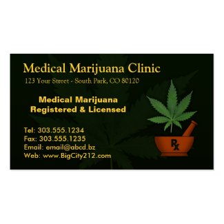 CUSTOMIZABLE Marijuana Clinic Business Card