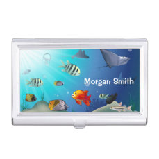 Customizable Marine Life Scene Business Card Case