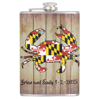 Customizable Maryland flag wood flask