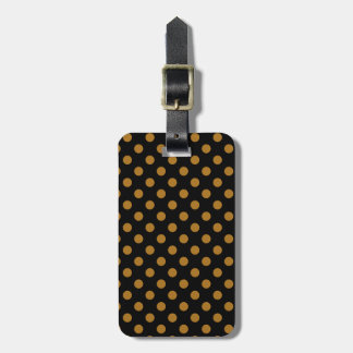Customizable Matte Gold on Black Polka Dot Tags For Bags