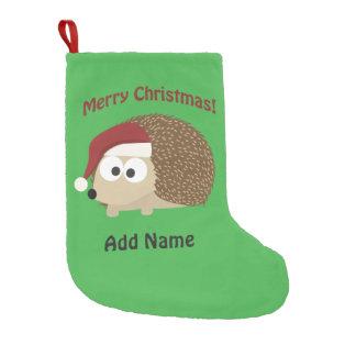 Customizable Merry Christmas hedgehog Small Christmas Stocking