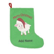 Customizable Merry Christmas Lamb Small Christmas Stocking