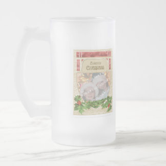 Customizable Merry Christmas Vintage Stained Glass Frosted Glass Beer Mug