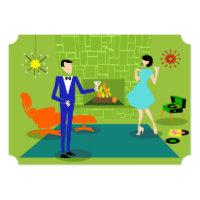 Customizable Mid Century Modern Couple Invitation
