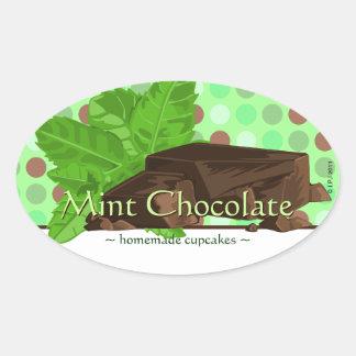 Customizable Mint Chocolate Oval Stickers