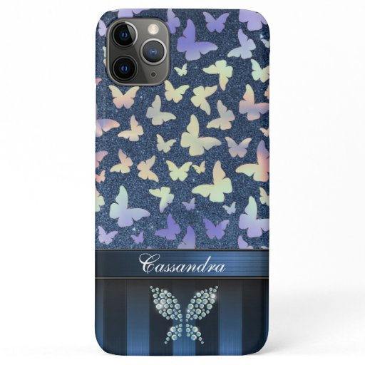 Customizable Modern Butterfly Print & Glitter iPhone 11 Pro Max Case