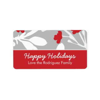 Customizable Modern Floral Holiday Label Address Label
