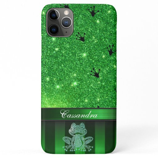 Customizable Modern Frog Print with Glitter iPhone 11 Pro Max Case