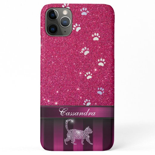 Customizable Modern kitten Print with Glitter iPhone 11 Pro Max Case