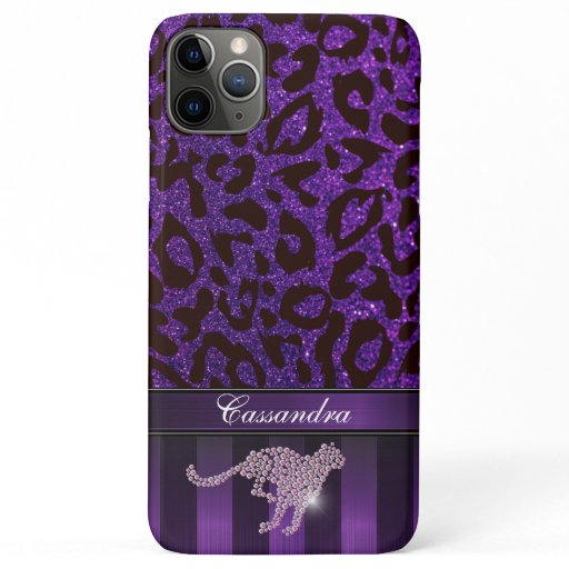Customizable Modern Leopard Print with Glitter iPhone 11 Pro Max Case