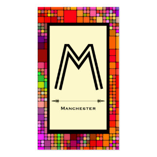 customizable monogram abstract square pattern business card templates