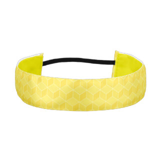 Customizable Monogram Bright Yellow 3D cubes casca Athletic Headband