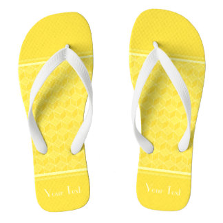 Customizable Monogram Bright Yellow 3D cubes casca Flip Flops