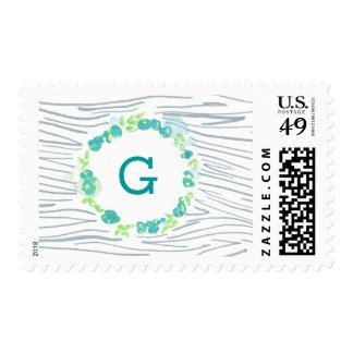 Customizable Monogram Faux Bois Wood Stamp