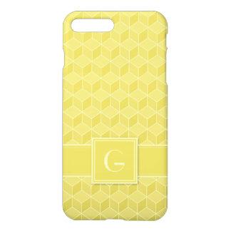 Customizable Monogram Gold Colored 3D cubes cascad iPhone 8 Plus/7 Plus Case