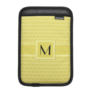 Customizable Monogram Gold Colored 3D cubes cascad Sleeve For iPad Mini