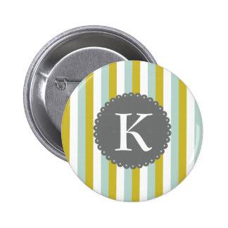 Customizable Monogram Mint Yellow White Stripes Button