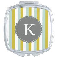 Customizable Monogram Mint Yellow White Stripes Mirror For Makeup