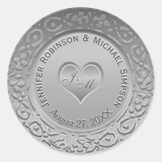 Customizable Monogram Silver Foil Look Wedding Classic Round Sticker