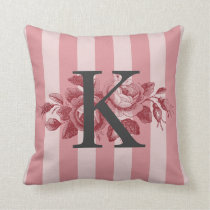 Customizable Monogram w/Pink Stripes Cabbage Roses Throw Pillow