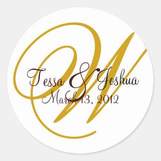 Customizable Monogram Wedding Initial Seal Sticker Round Sticker