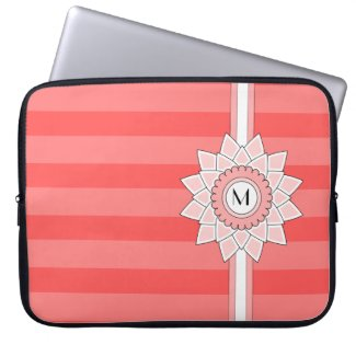 Customizable Monogram with Pink Flower & Stripes