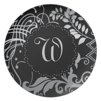 Customizable Monogrammed Black Demask Lace Melamine Plate