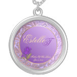 Customizable Mother Of The Bride Purple Keepsake Round Pendant Necklace