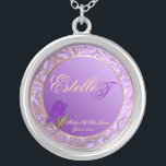 "Customizable Mother Of The Bride Purple Keepsake Silver Plated Necklace<br><div class=""desc"">Customizable Mother Of The Bride Shades Of Lavender Keepsake Necklace. Replace Mother Of The Brides first name and last name initial with correct information, and the date of your marriage, on this elegant keepsake necklace, in the ""Personalize It"" box on the right of this product page. You may choose to...</div>"