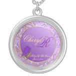 Customizable Mother Of The Groom Purple Keepsake Round Pendant Necklace