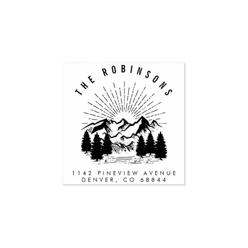 Customizable Mountain  Pine Trees Return Address Rubber Stamp