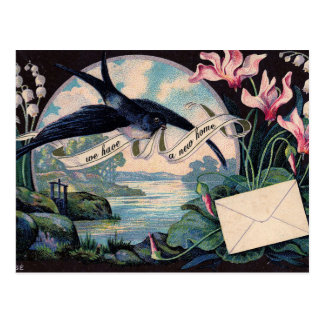 Customizable Moving Announcement // Vintage Bird Postcard