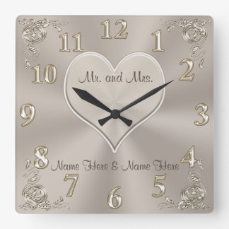 Customizable Mr. and Mrs. Gifts Champagne Clock