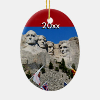 Customizable Mt Rushmore Souvenir Double-Sided Oval Ceramic Christmas Ornament