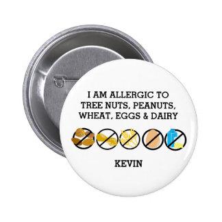 Customizable Multiple Food Allergy Alert Kids Button