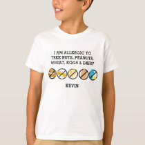 Customizable Multiple Food Allergy Alert Kids T-Shirt