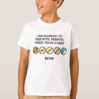 Customizable Multiple Food Allergy Alert Kids T-Shirt