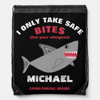 Customizable Multiple Food Allergy Alert Shark Bag Drawstring Bag