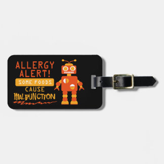 Customizable Multiple Food Allergy Robot Alert Bag Tag